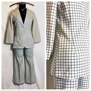 70s Windowpane Pant Suit Bellbottom